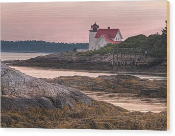 Hendricks Head Light At Sunset Wood Print by At Lands End Photography