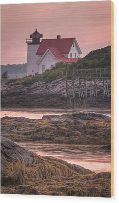 Hendricks Head Light At Sunset - Portrait Wood Print by At Lands End Photography