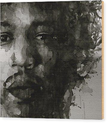 Hendrix   Black N White Wood Print