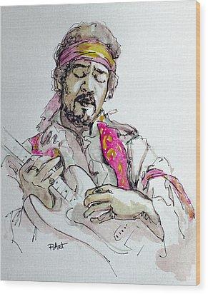 Hendrix Wood Print by Laur Iduc