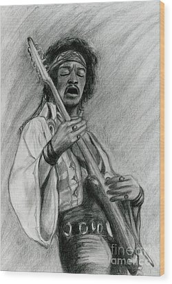 Wood Print featuring the drawing Hendrix by Roz Abellera Art
