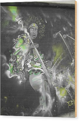 Hendrix X-ray #1 Wood Print by Erik Franco