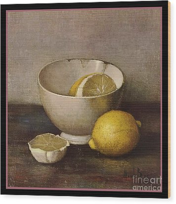 Henk Bos Fruits Still Life Lemons With White Bowl Wood Print by Pierpont Bay Archives