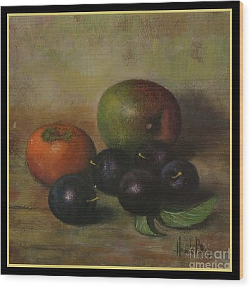 Henk Bos Fruits Still Life Plums  Wood Print by Pierpont Bay Archives