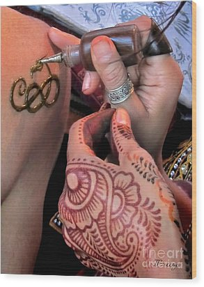 Wood Print featuring the photograph Henna Hands At Work by Jennie Breeze
