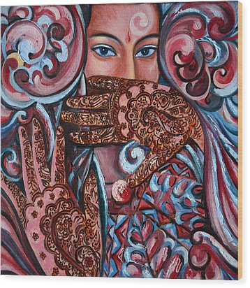 Wood Print featuring the painting Henna by Harsh Malik