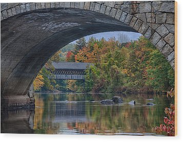 Wood Print featuring the photograph Henniker Covered Bridge No. 63 by Jeff Folger
