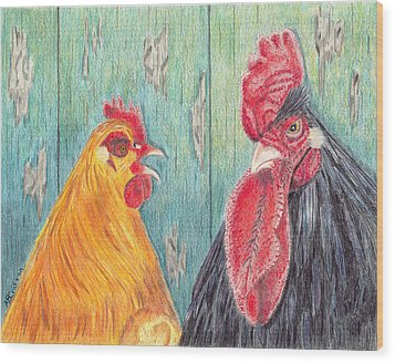 Henpecked Wood Print by Arlene Crafton