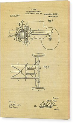 Henry Ford Transmission Mechanism Patent Art 1911 Wood Print by Ian Monk