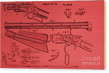 Henry Rifle Patent Drawing Wood Print