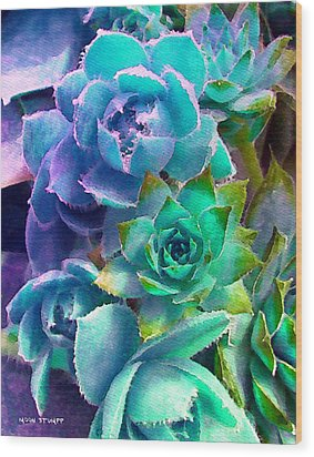 Hens And Chicks Series - Deck Blues Wood Print by Moon Stumpp