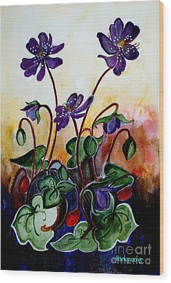 Hepatica After A Design By Anne Wilkinson Wood Print