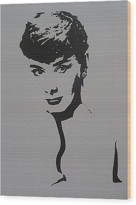 Wood Print featuring the painting Hepburn by Cherise Foster