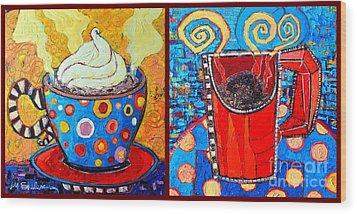 Her And His Coffee Cups Wood Print by Ana Maria Edulescu