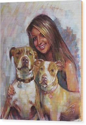 Wood Print featuring the drawing Her Best Friends by Viola El