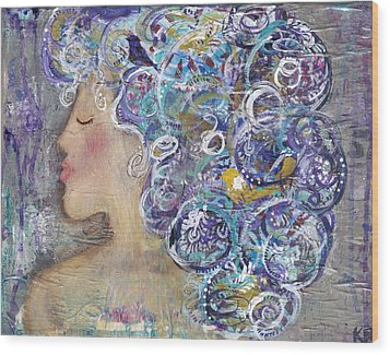 Her Creative Mind Wood Print by Kirsten Reed