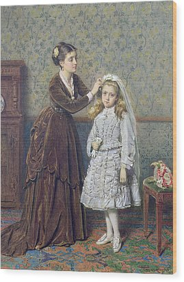 Her First Communion Wood Print by George Goodwin Kilburne