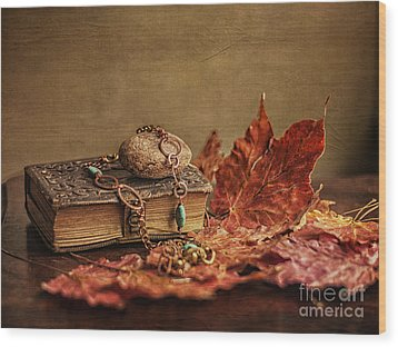 Her Old Diary Wood Print by Terry Rowe