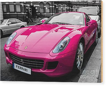 Her Pink Ferrari Wood Print by Matt Malloy