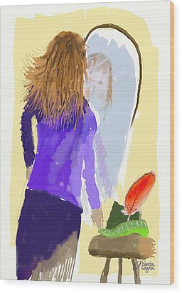 Wood Print featuring the digital art Her Reflection by Arline Wagner
