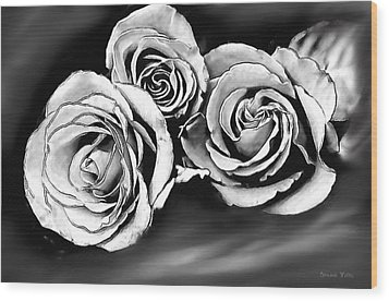 Her Roses Wood Print by Bonnie Willis