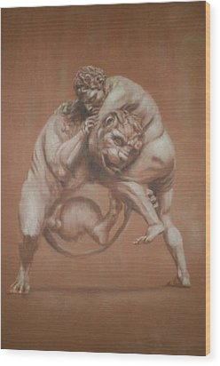 Heracles And The Lion Wood Print by Paez  Antonio