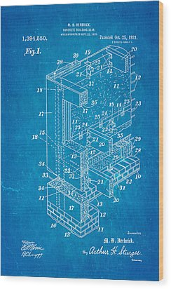 Herbrick Concrete Building Slab Patent Art 1921 Blueprint Wood Print by Ian Monk