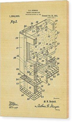 Herbrick Concrete Building Slab Patent Art 1921 Wood Print by Ian Monk