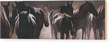 Herd Of Horses Wood Print by Natasha Denger