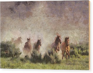 Wood Print featuring the painting Herd Of Wild Horses by Georgi Dimitrov