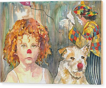 Wood Print featuring the painting Here Comes The Clowns by P Maure Bausch