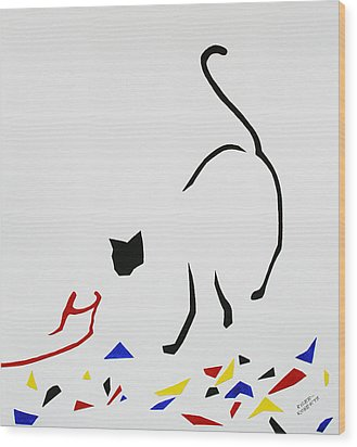 Here Kitty Kitty Wood Print by Eve Riser Roberts