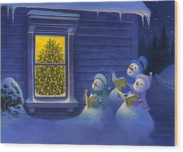 Here We Come A Caroling Wood Print by Michael Humphries