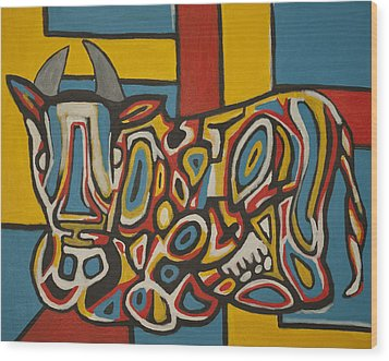 Haring's Cow Wood Print by Jose Rojas