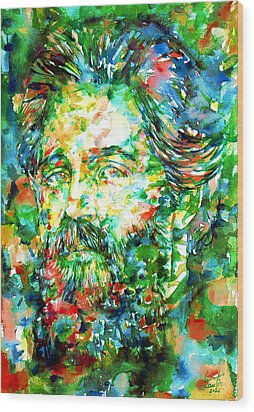 Herman Melville Watercolor Portrait Wood Print by Fabrizio Cassetta