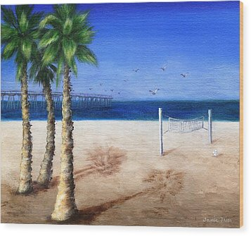 Hermosa Beach Pier Wood Print by Jamie Frier