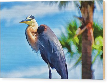 Heron And Palms Wood Print by Pamela Blizzard