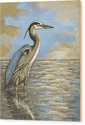 Wood Print featuring the painting Heron At Bay by VLee Watson