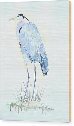 Heron Wood Print by Christine Lathrop