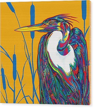 Heron Wood Print by Derrick Higgins