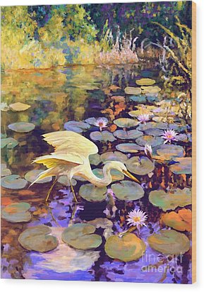 Heron In Lily Pond Wood Print