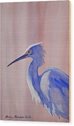 Heron Wood Print by Shirin Shahram Badie