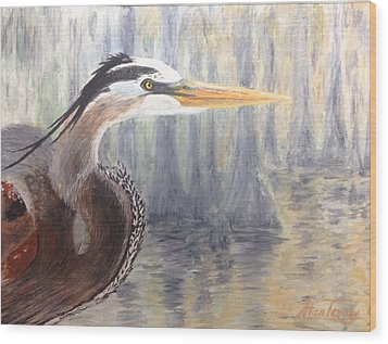 Wood Print featuring the painting Heron by Stan Tenney