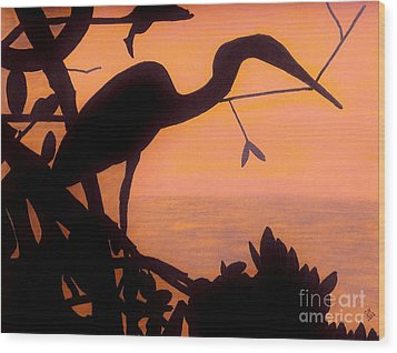 Wood Print featuring the drawing Heron Sunset by D Hackett