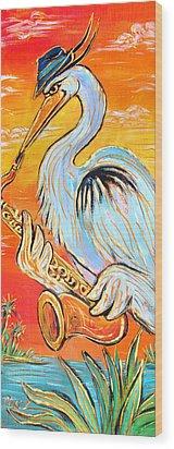Heron The Blues Wood Print by Robert Ponzio