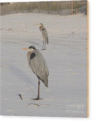 Heron Two Wood Print