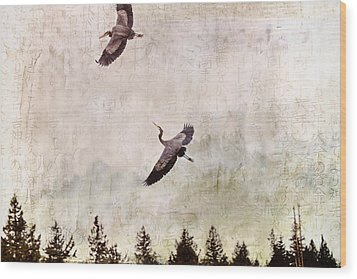 Wood Print featuring the photograph Herons In Flight Monotone by Peggy Collins