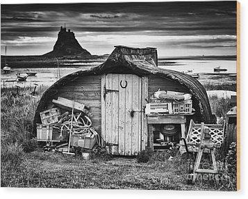 Herring Boat Hut Lindisfarne Monochrome Wood Print by Tim Gainey