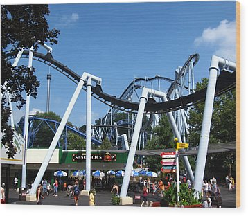 Hershey Park - Great Bear Roller Coaster - 121210 Wood Print by DC Photographer