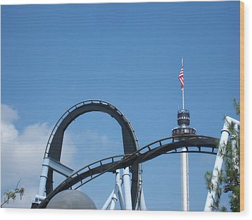 Hershey Park - Great Bear Roller Coaster - 121211 Wood Print by DC Photographer